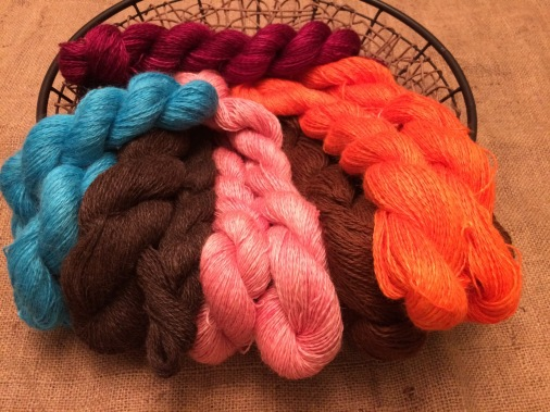 The Suri Luster is evident in these hand dyed yarns!